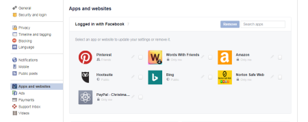 Facebook Settings Apps and Websites